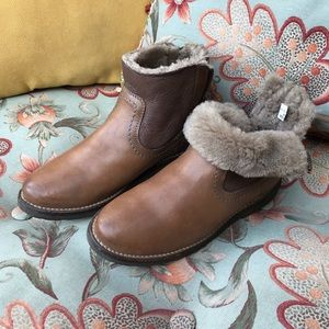 The Frye company shearling leather zip boots